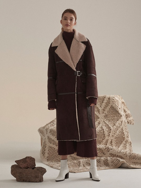[고준희,배윤영,김보라 착용] Marcel Faux-Shearing Mustang Coat_Chocolate Brown