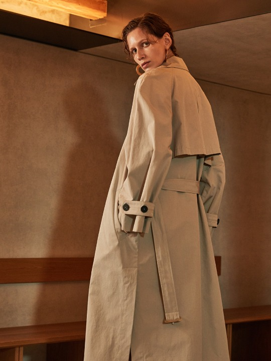 OLMETEX Oversized Belted Trench Coat_Light Gray