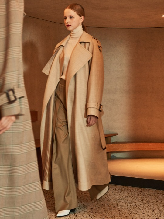 MANUEL Belted Wool Trench Coat_Oatmeal