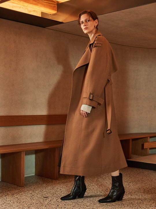 MANUEL Belted Wool Trench Coat_Camel
